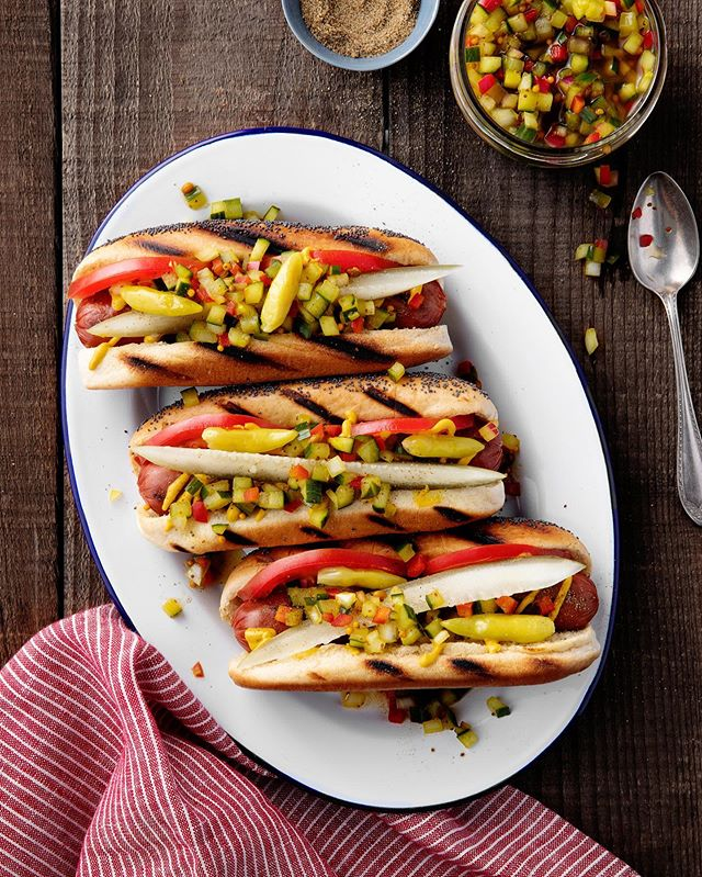 Nothing says summer like a plateful of grilled hot dogs. I'm so happy Los Angeles is starting to feel like summer! Beautiful dogs by the talented @hristinamisafiris.