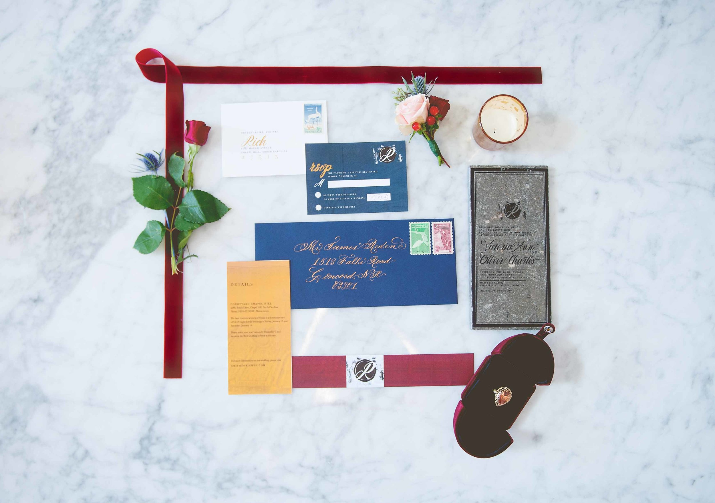 Tile Invitation Suite    Photo Credit -    Something Blue Photography    This sorcery just blows my mind. This suite was on a glass table. GLASS. The wizardry of my photographer made it on a marble background and really made it pop. I got to style this lay flat which meant that there was no crowding and plenty of breathing room for all of the components.