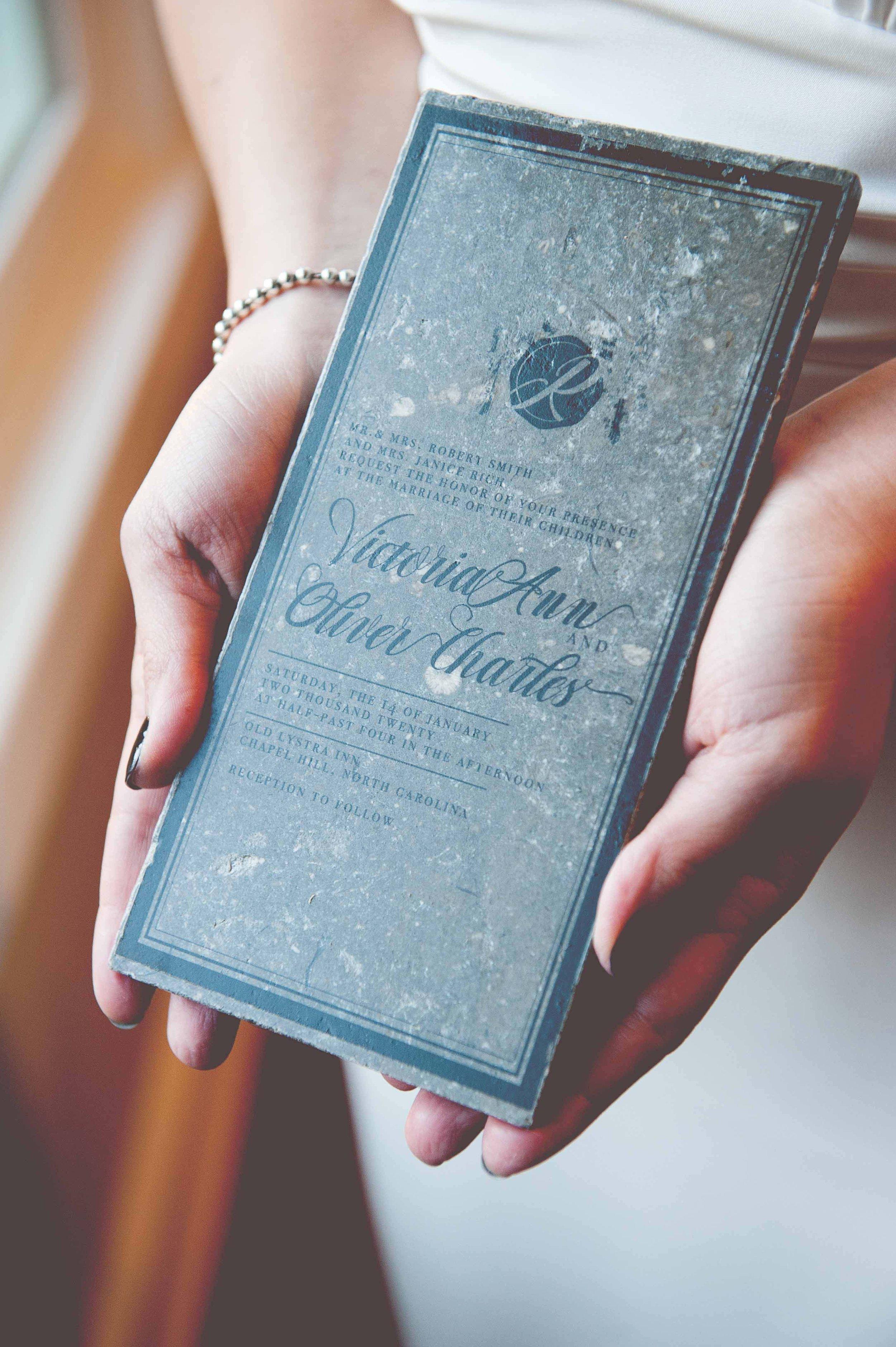 tile wedding invitation