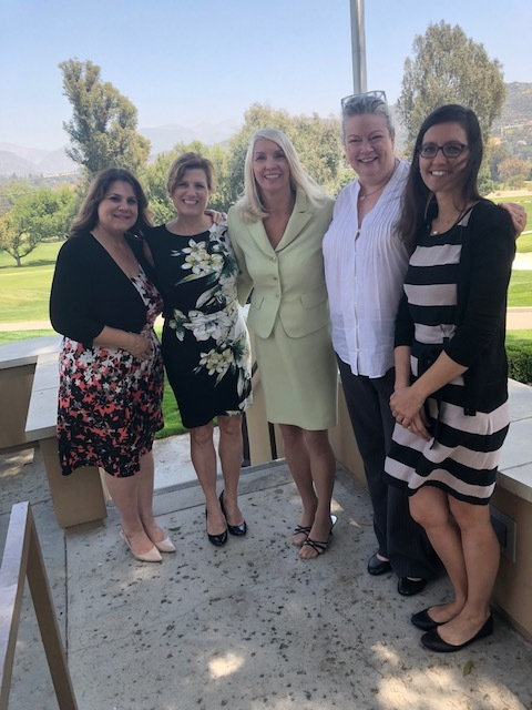 Carrie Espinoza from Hillsides, Natalie Profant Komuro from Ascencia and Heather Sardella and Christina Brinn from Didi Hirsch receiving grants from Las Candelas