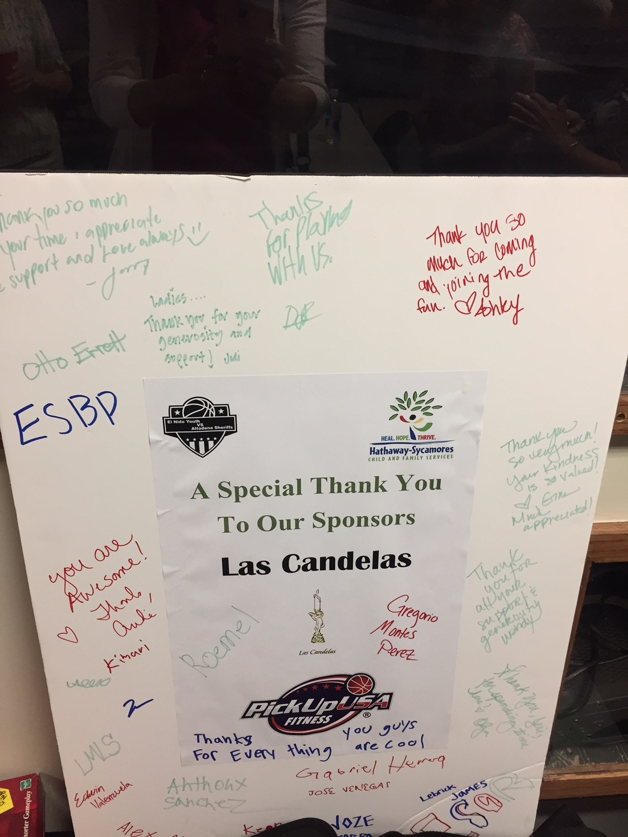Thank you from Hathaway Sycamores for Law Enforcement Basketball Game