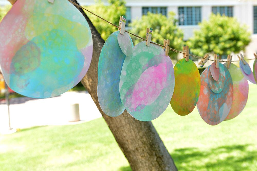 Didi Hirsch Teen Summit - Artwork hanging from clothesline