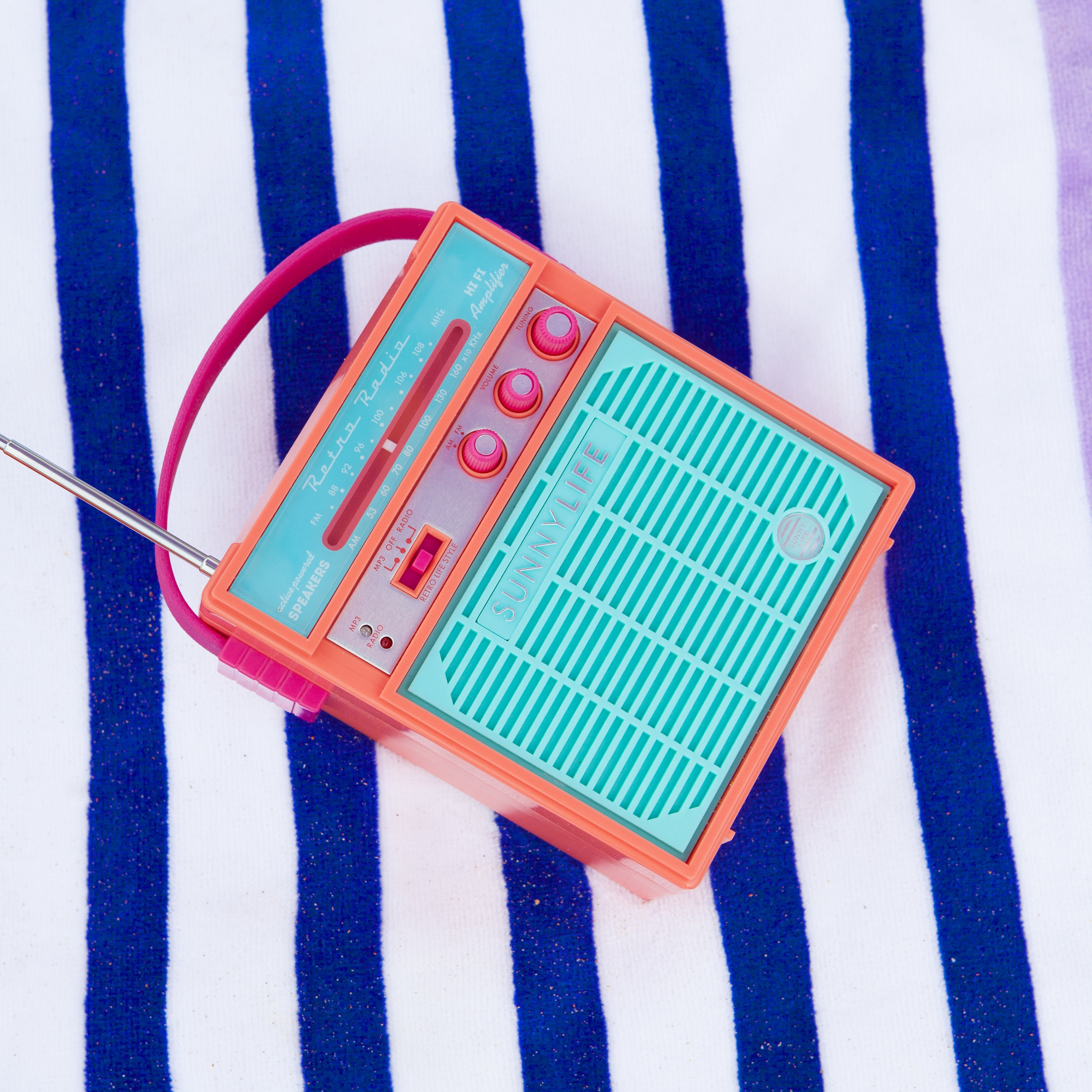 Water & Sand Resistant Retro Radios   Two important beach/pool day rules; 1.)   good music and 2.)a functional phone. These cute and colorful retro radios are water and sand resistant so you can listen to your summer playlist and still text plans later.