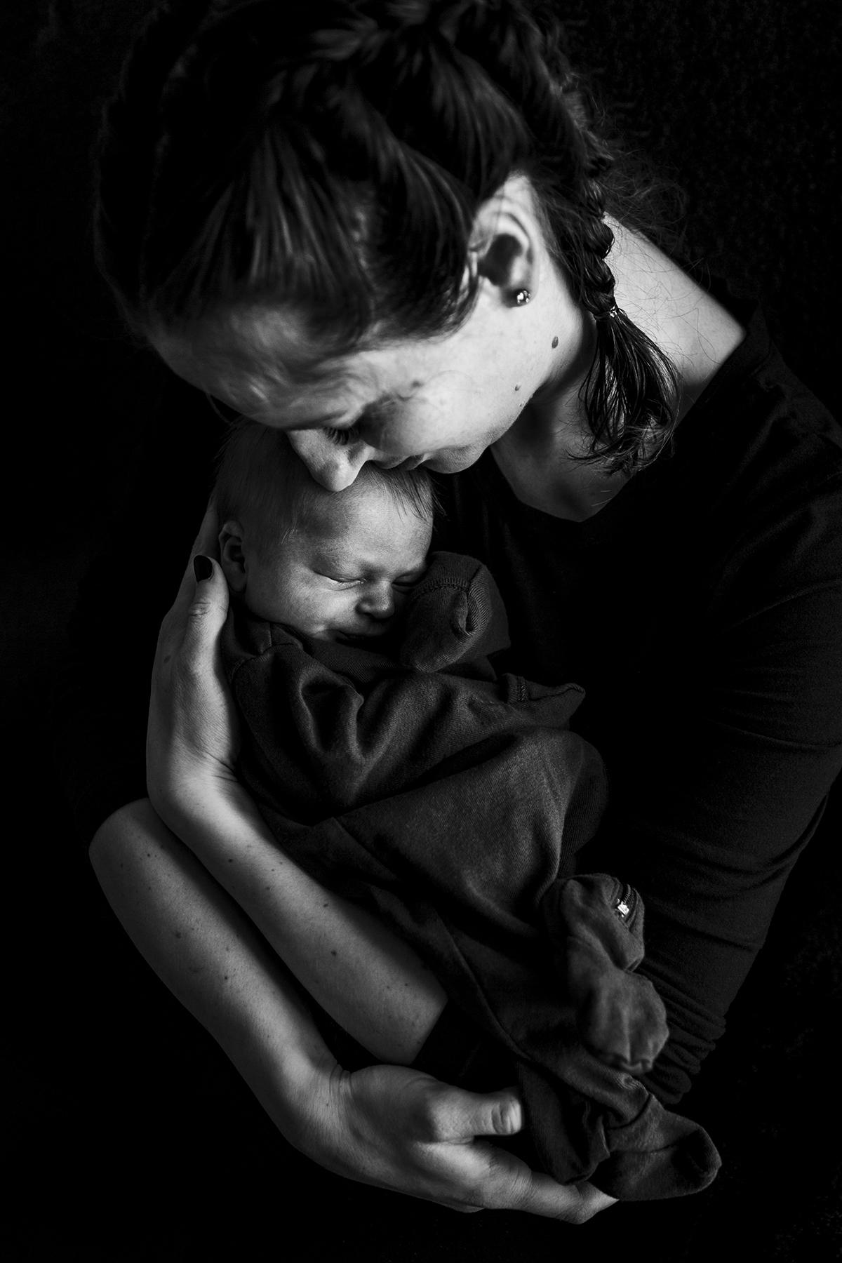 dramatic newborn photography