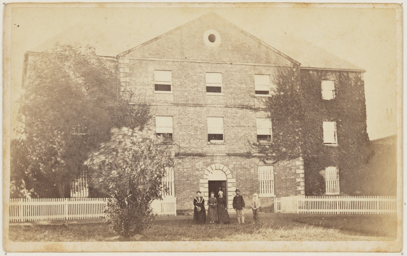 The Protestant Orphan School between 1870 and 1875, with Martha Betts in the foreground (State Library of New South Wales SPF / 2661)