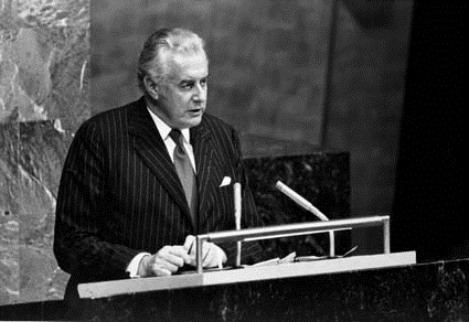 Gough Whitlam speaking at United Nations General Assembly in 1974