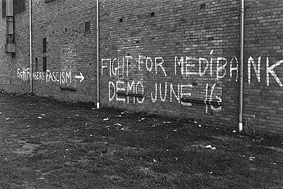 Graffitti in Port Melbourne promoting a 'Fight for Medibank' rally