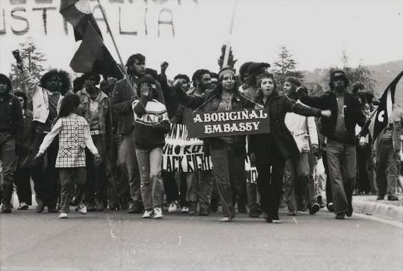 Land rights demonstration, Parliament House, Canberra, 30 July 1972