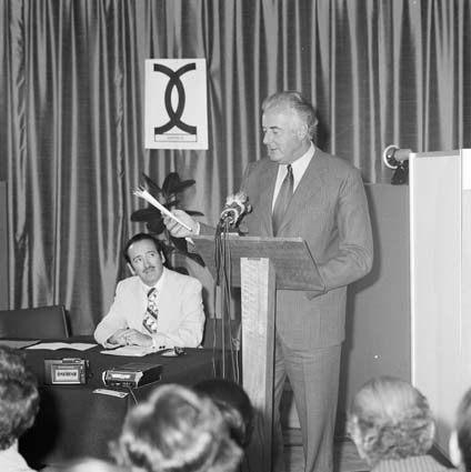 Gough Whitlam and Al Grassby at the procalmation of the Racial Discrimination Act on October 31, 1975