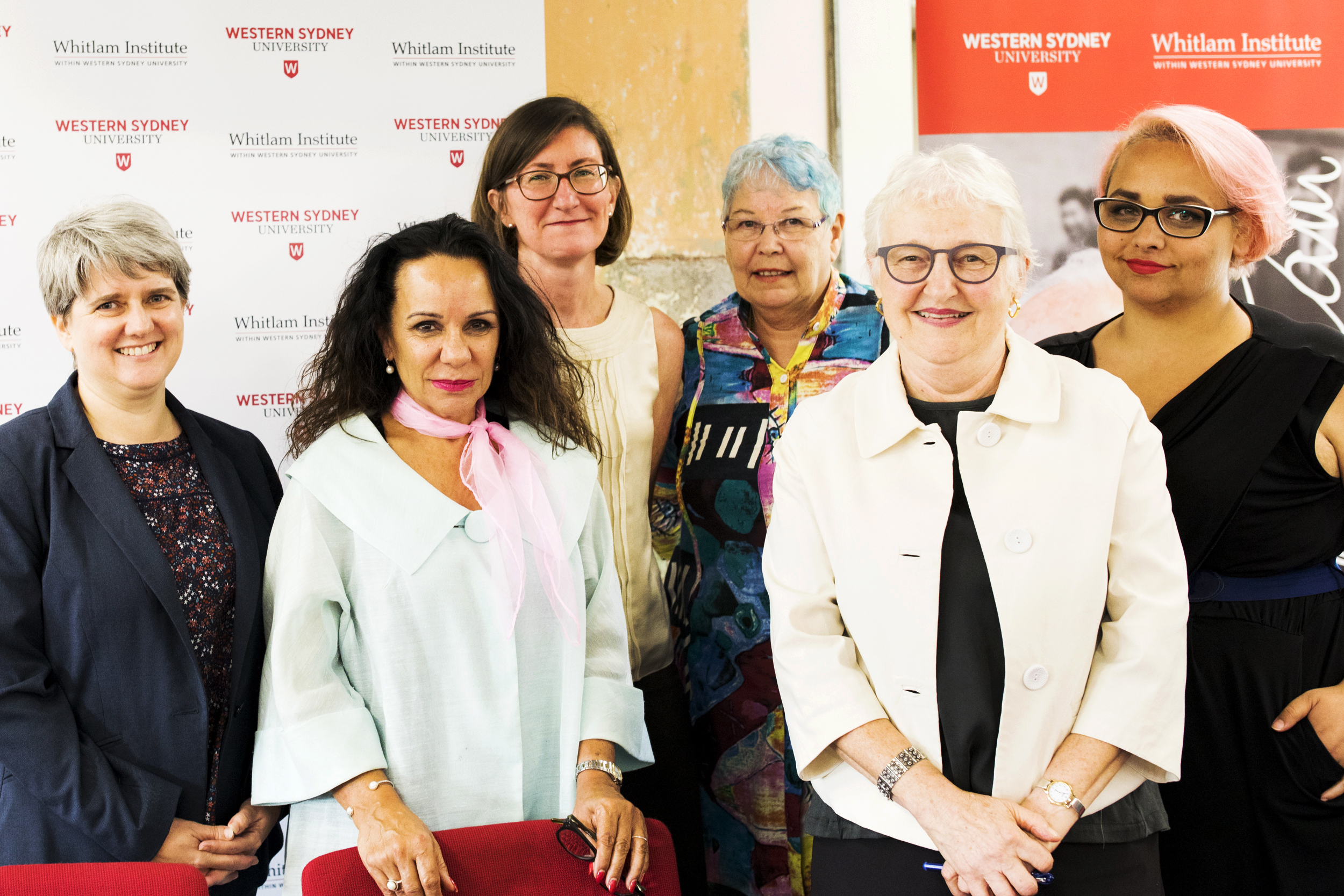 L to R: Diana Perche (Academic Coordinator, Indigenous Programs Unit, Nura Gili, UNSW), Hon Linda Burney MP (Member for Barton), Leanne Smith (Director, the Whitlam Institute), Lynda Holden (Lecturer in Aboriginal & Torres Strait Islander Law, School of Law, Western Sydney University), Anna Yeatman (Professor, Institute for Culture and Society, Western Sydney University), Gemma McKinnon (Associate Lecturer, Law, UNSW)