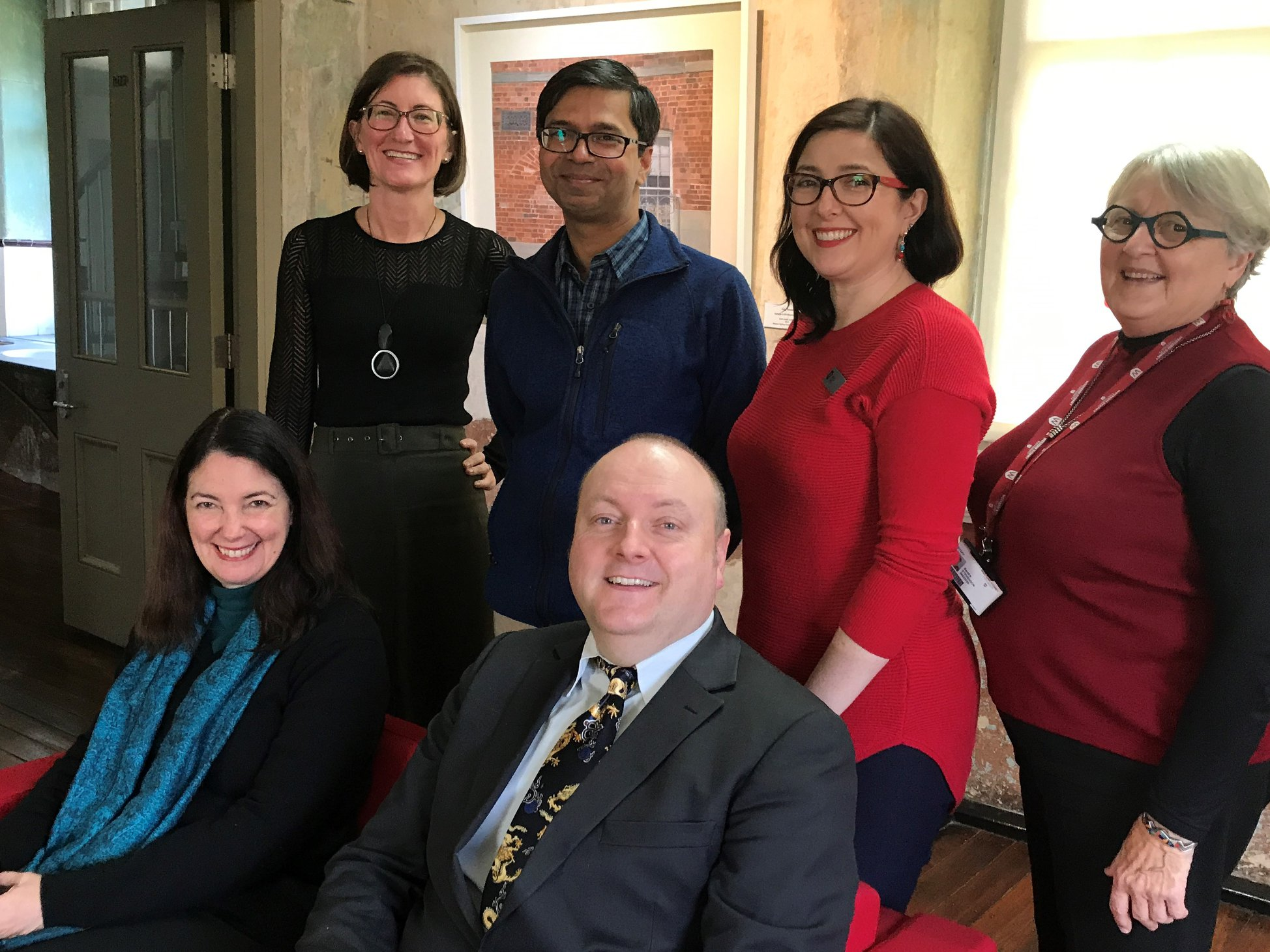 Current E.G.Whitlam Research Fellows Professor du Cross, Dr Henry and Endeavour Fellow Bikram Choudhary meet with Whitlam Institute Staff, 7 June 2018.