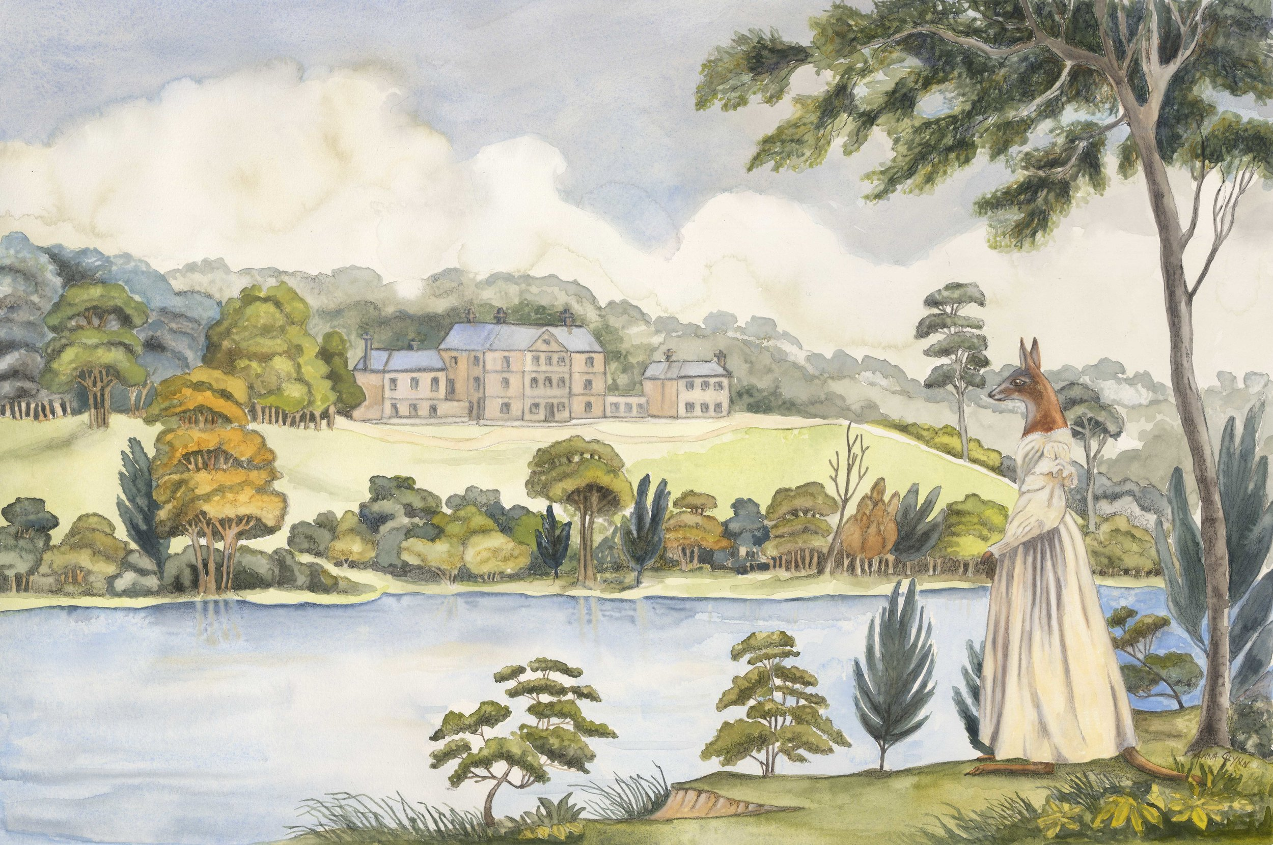 Colonial Hybrid Reimagined from Joseph Lycett View of the Female Orphan School, near Parramatta 1824 | Artist - Anna Glynn