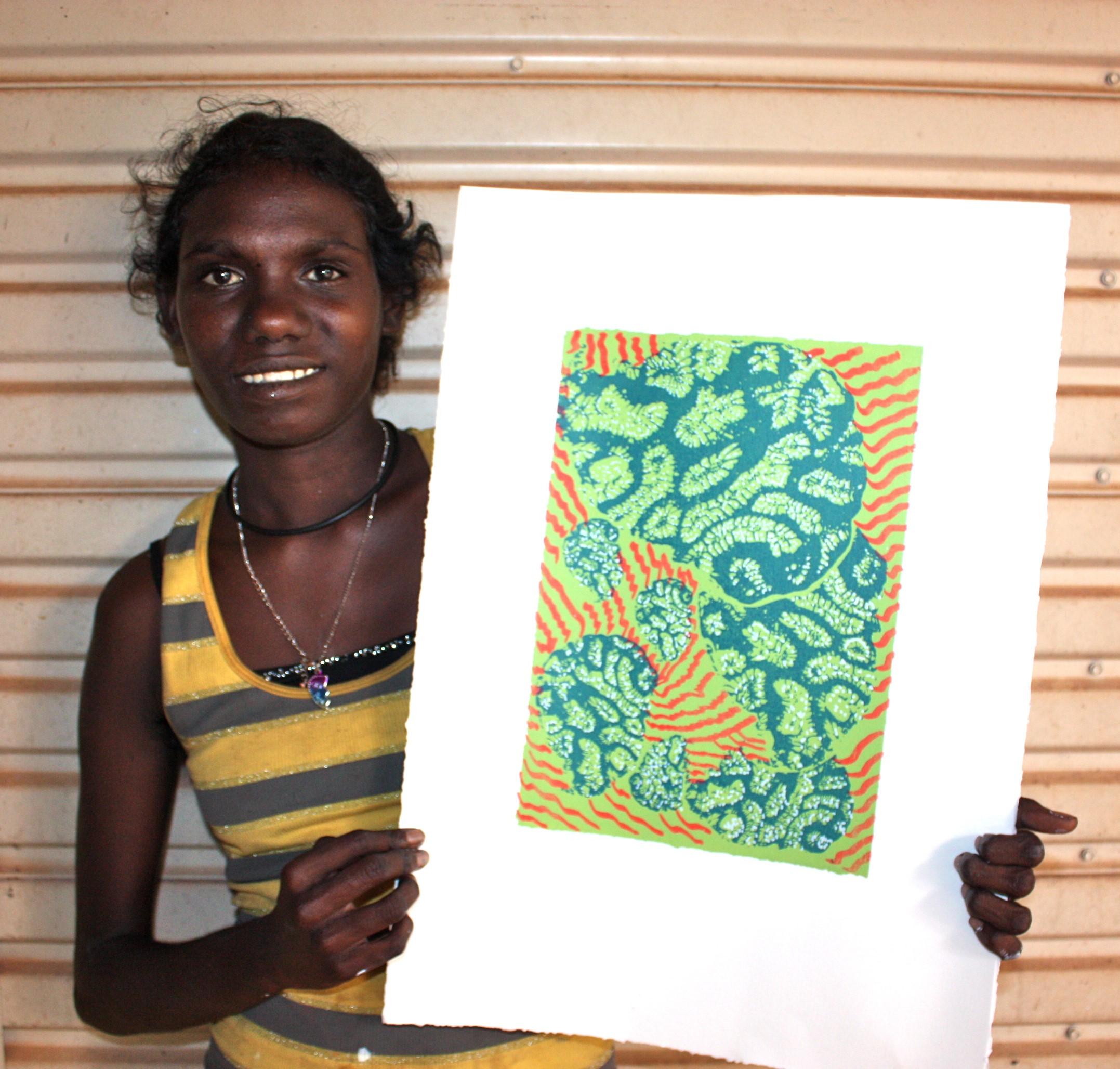 Dhalmula #2 Burarrwa+ïa (Faye) with her screenprint