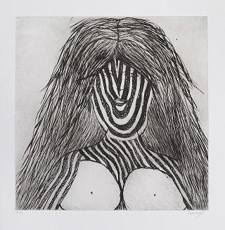 Gunybi Ganambarr, Yirritja Women, 2013, etching, 40x40cm