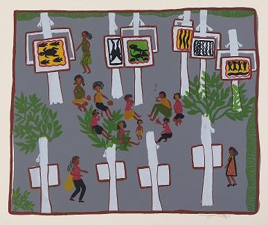 Marrnyula Mununggurr, Garma, 2002, screenprint, 47x33cm