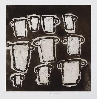 Nongirrnga Marawili, Teacup, 2013, etching, 40x40cm