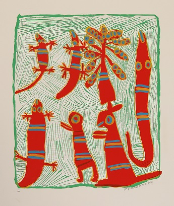 Nyapanyapa Yunupingu, Hunting Dhawu, 2001, screenprint, 47x39cm