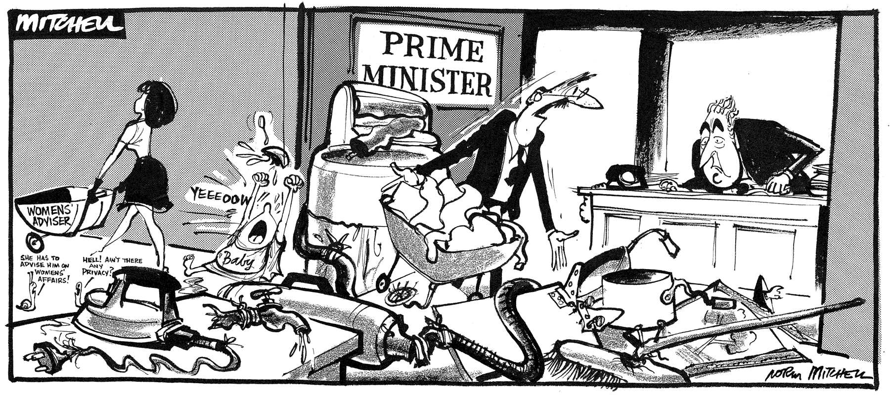 Women's Adviser Cartoon by Norman Mitchell published 11 April 1973