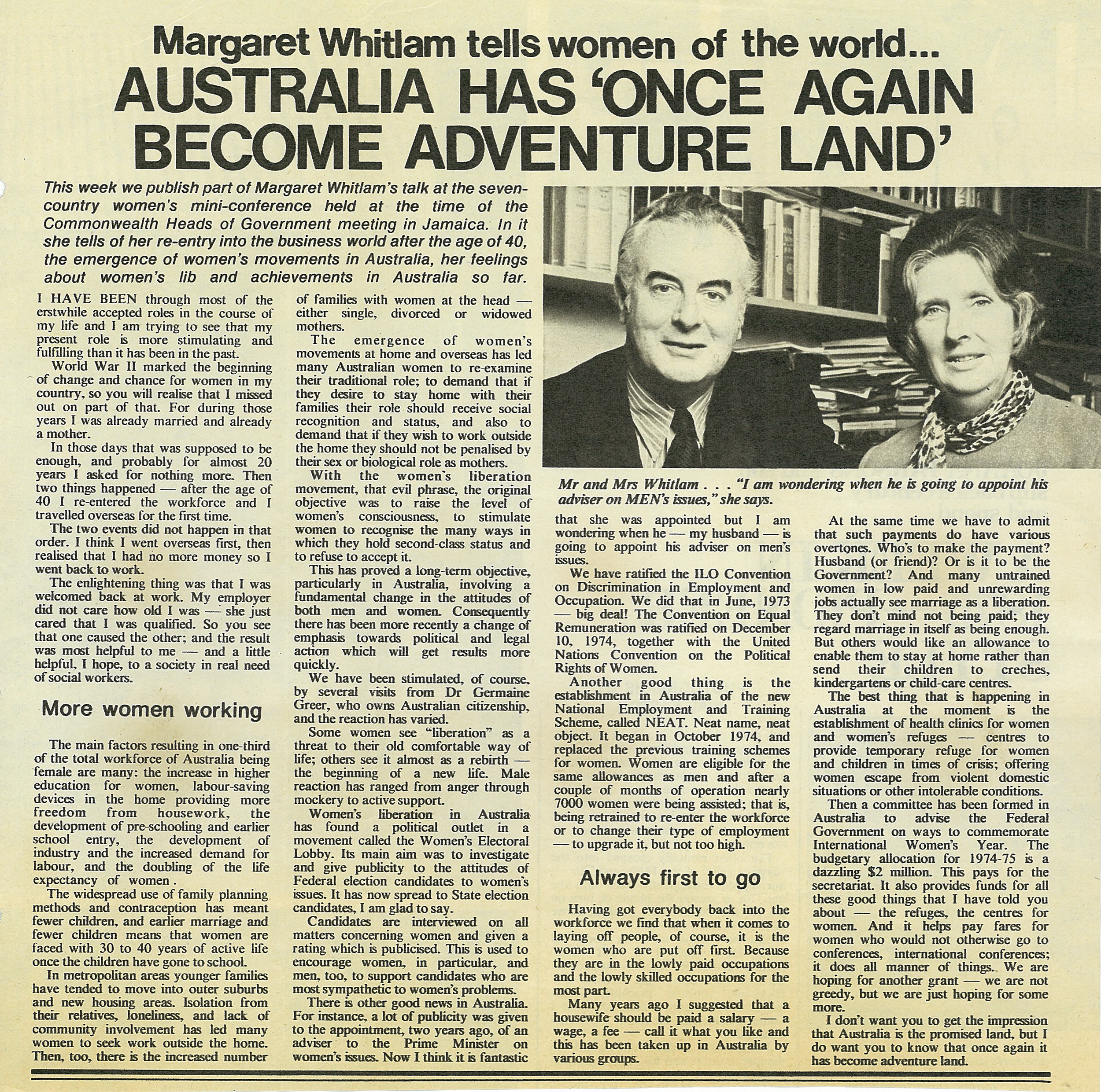 Article Margaret Whitlam, 9 June 1975