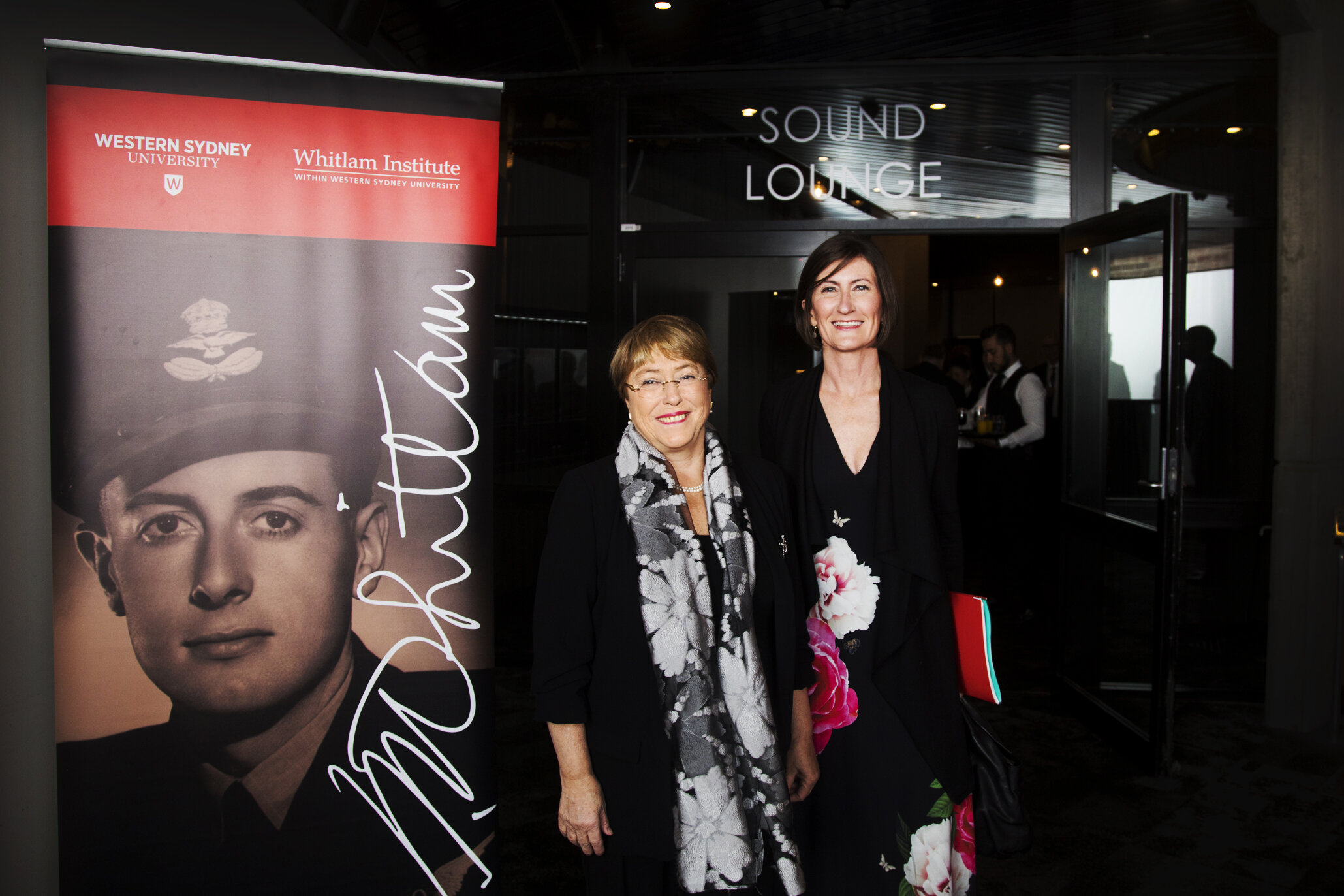 UN Human Rights Commissioner Michelle Bachelet and Whitlam Institute Director Leanne Smith at the 2019 Whitlam Oration.