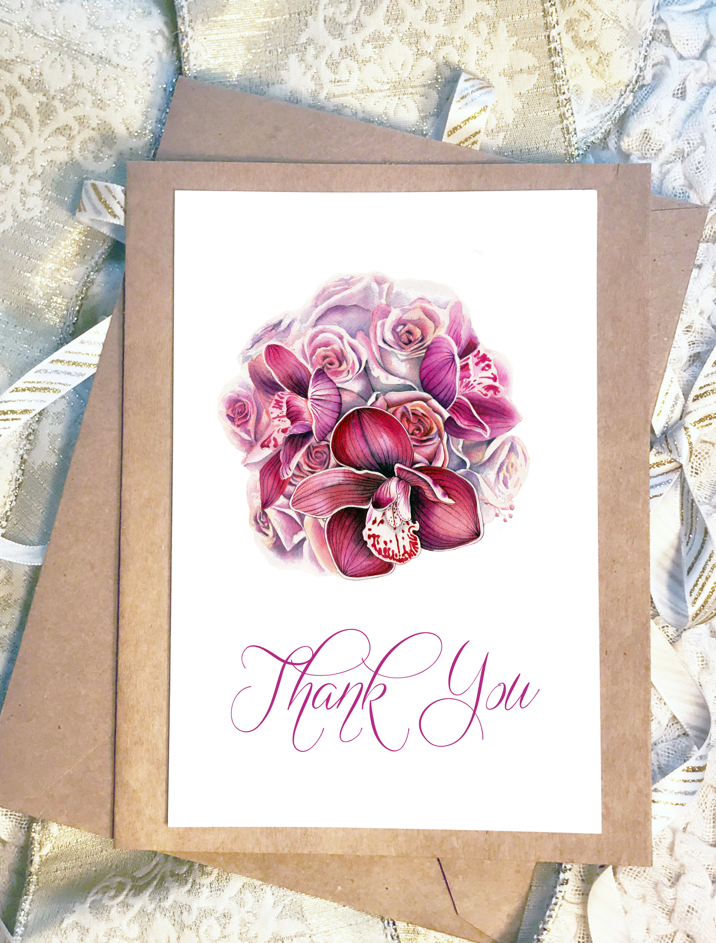 - Add an extra personal touch to your thank you cards, reminding your guests of your special day as you send them your appreciation.Custom gift card packages are available in a range of quantities. Please see our pricing page for more details.