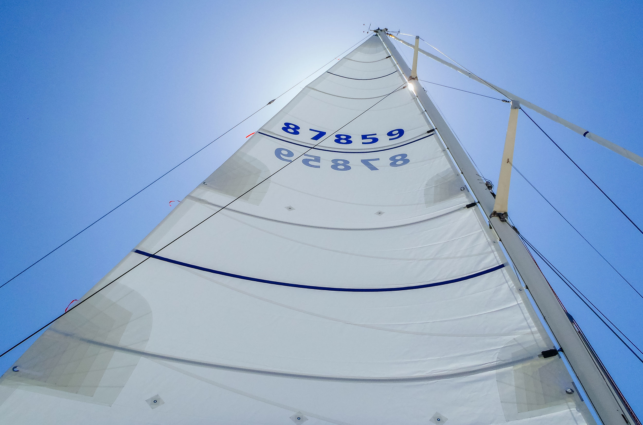 A new Dacron full-battenedmain with three reefs on a Swan 46.