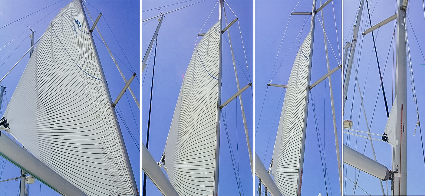 This sequence shows the finished Beneteau 411 sail with vertical battens and positive roach rolling into the mast.