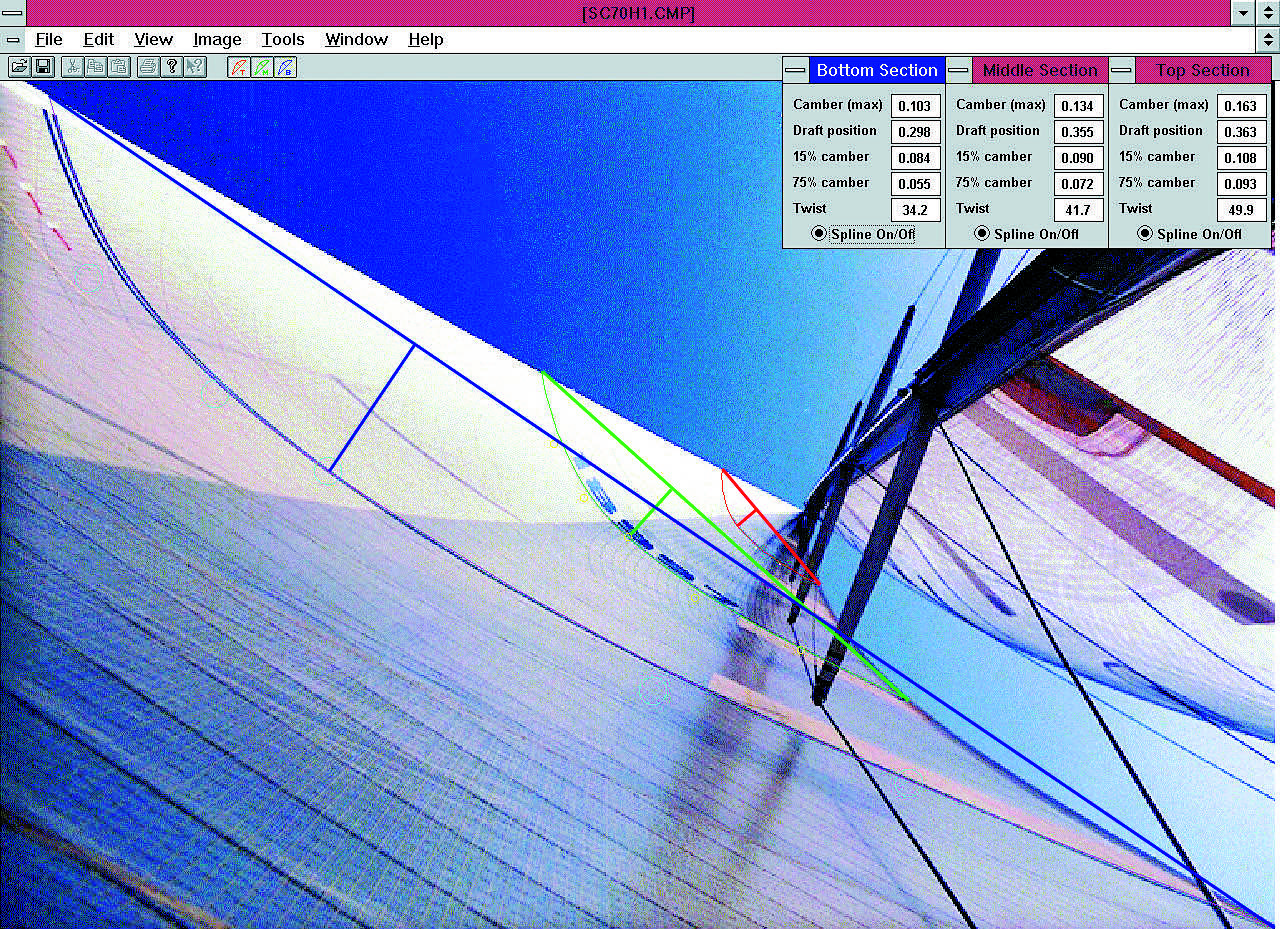 A screen capture of UK's AccuMeasure program which is used to analyze a sail's flying shape. Click  here  to download the program for free.