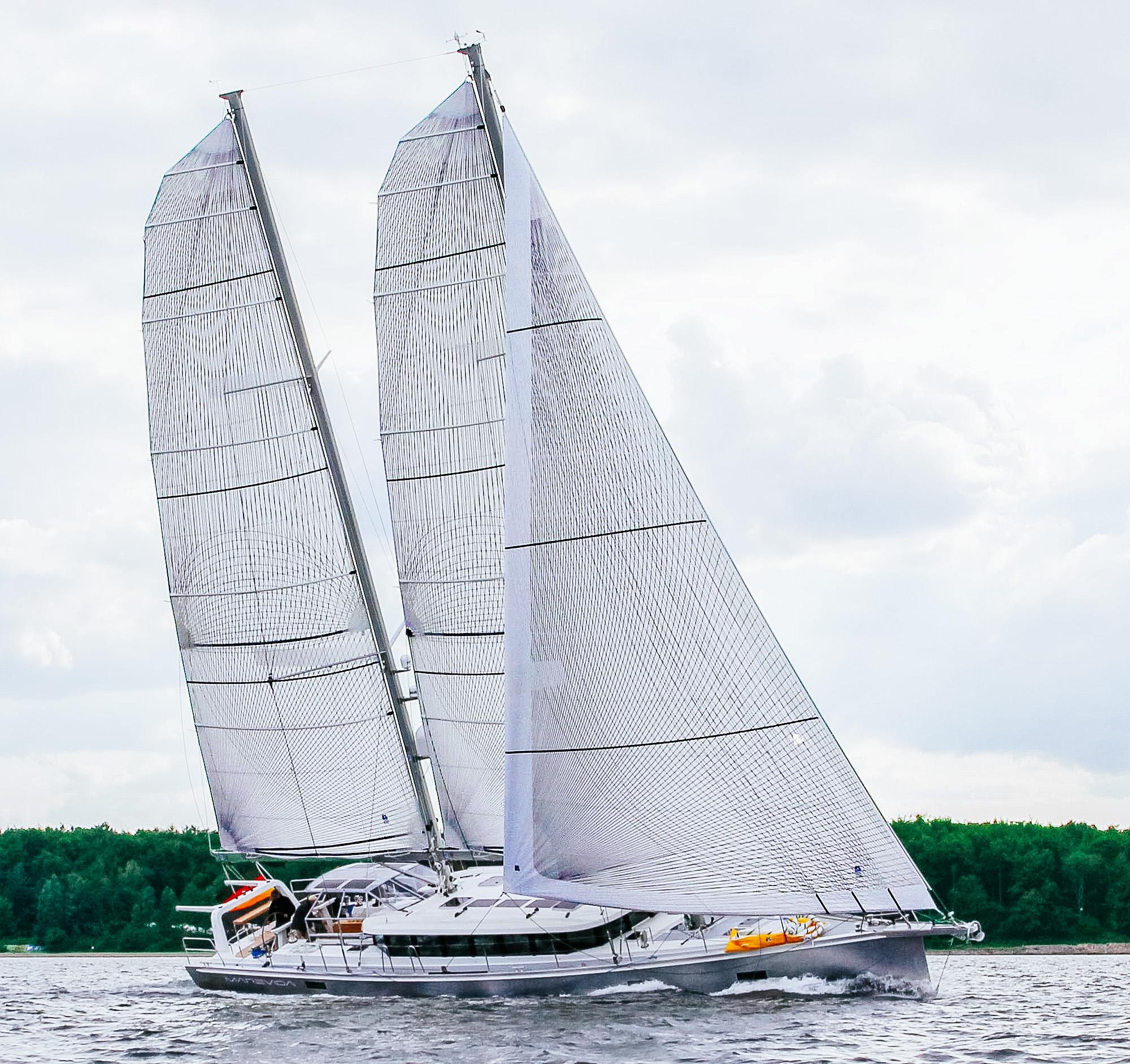 Berckemeyer Yacht Design's 70-foot schooner with full-batten Spectra Tape-Drive mains and a roller/reefing genoa. Photo courtesy     Berckemeyer Yacht Design