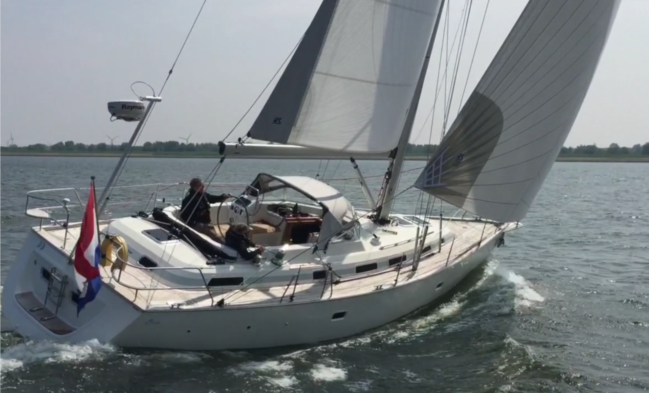 Click  here for a video showing the C-Yacht 1250i sailing close to the wind with her cruising Code Zero