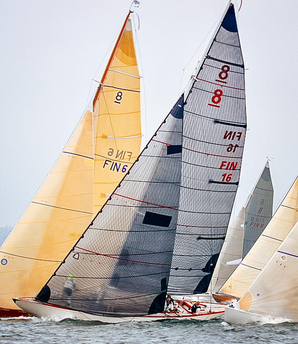 A Classic 8-Meter racing with Tape-Drive carbon and black aramid Powerhead mainsail and genoa.