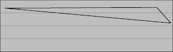 Above: a single gore plotted on a section of sailcloth. The black lines show the strong warp yarns in the laminate running the length of the material.