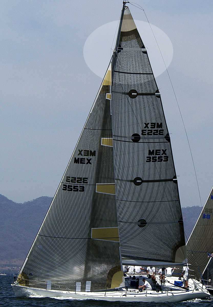 Titanium main sail with a full length top batten and four partial length battens.