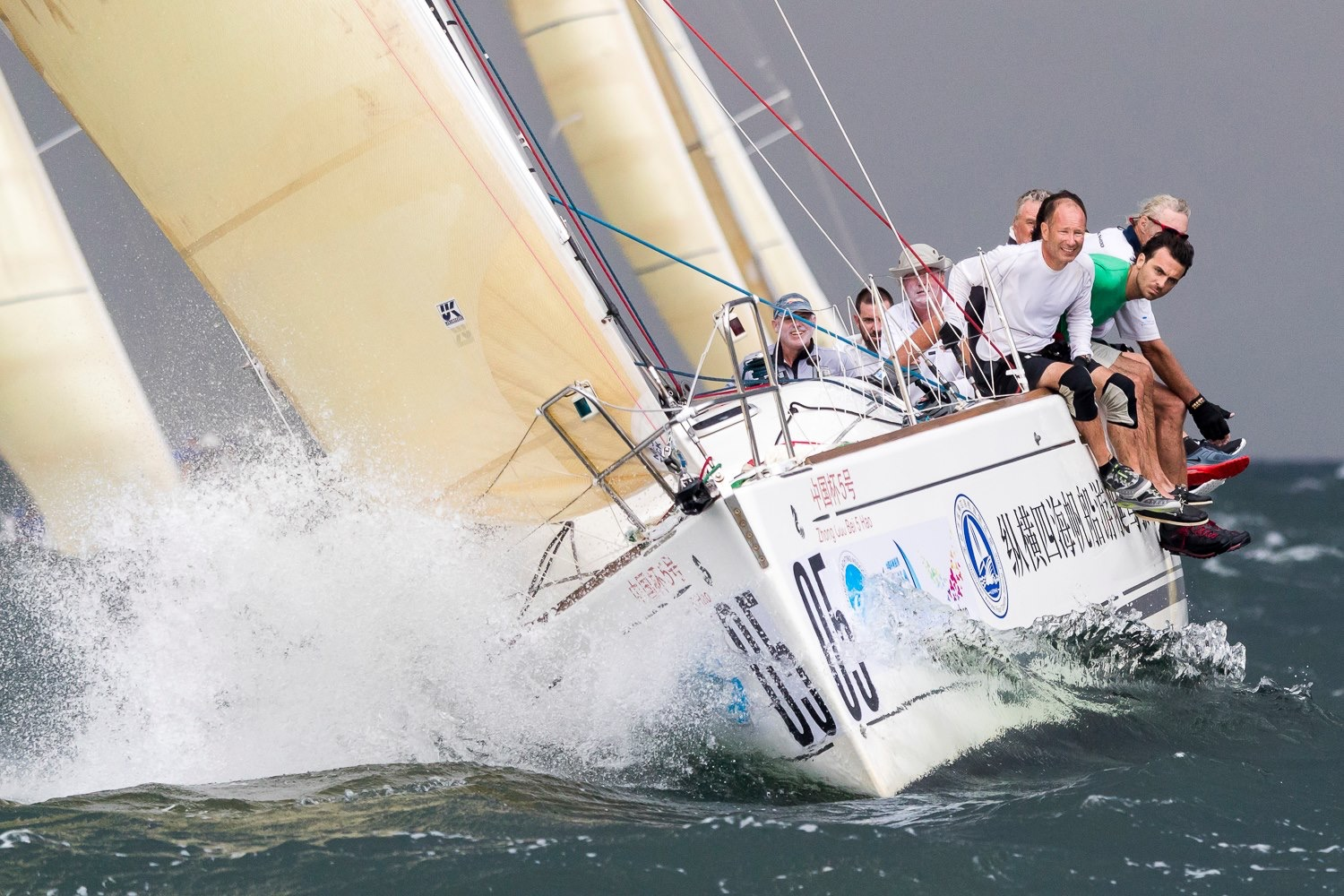 A fleet of Beneteau 40.7s racing at the China Cup International Regatta with an aramid Flex genoas and mains.