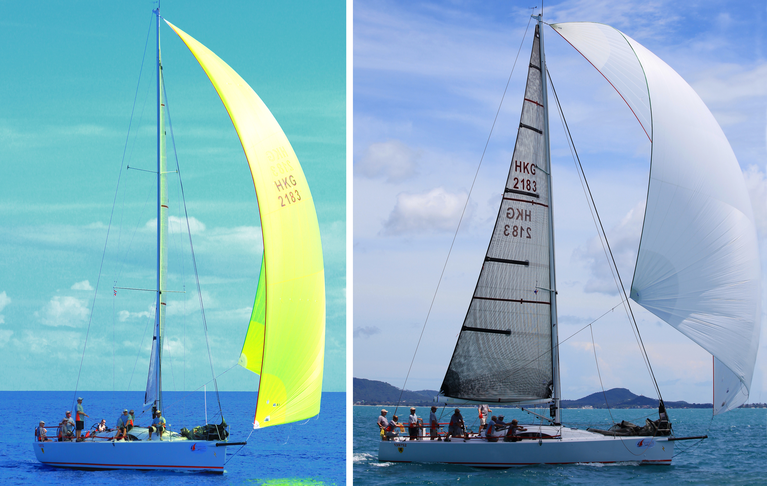 Two different spinnakers on the Archambault 40 RC ELEKTRA. On the left is the boat's A1, which is flatter and smaller than the A2 shown on the right.