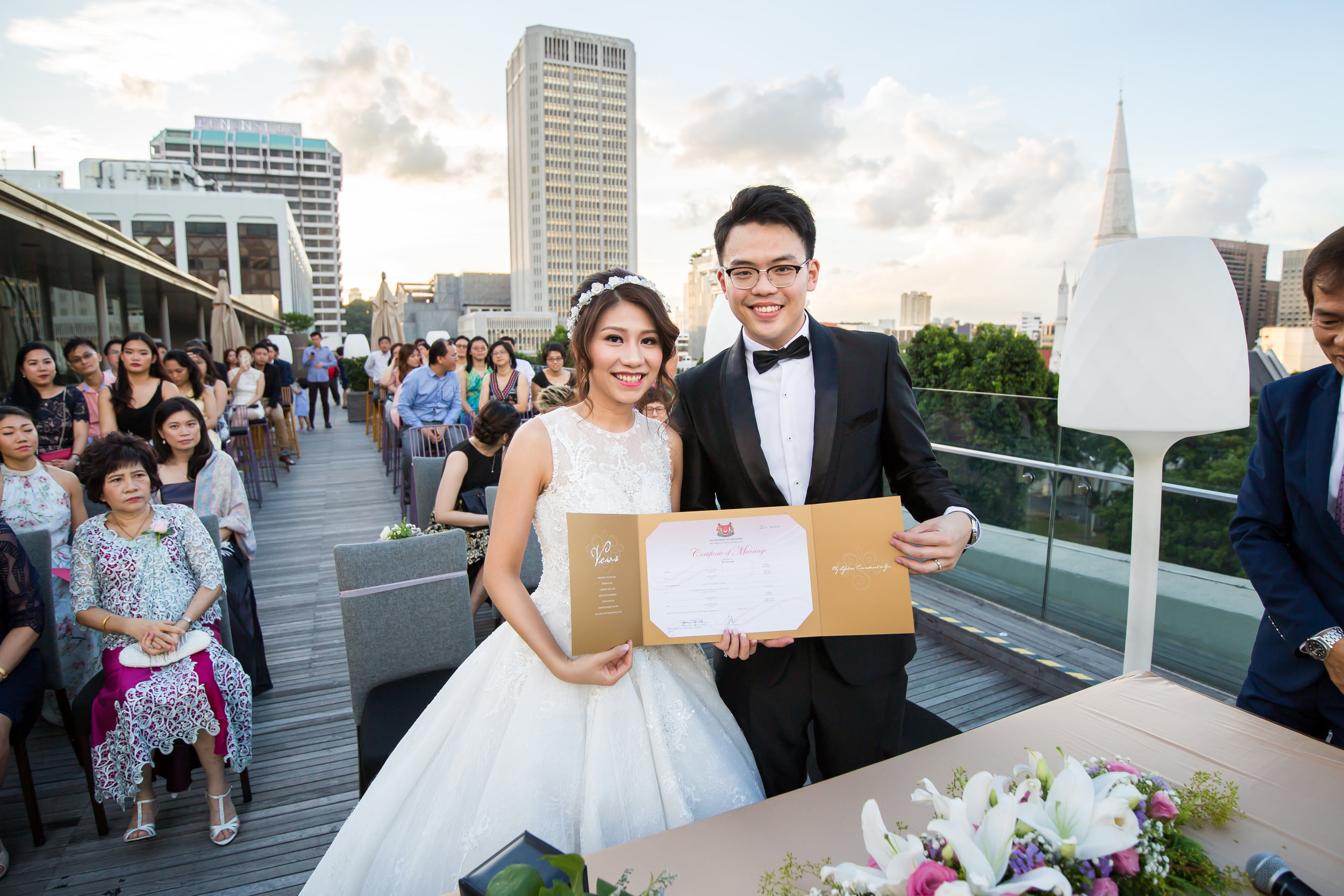 ROM on the rooftops of Pan Pacific Hotel, Singapore. Photo credits:  Kevin Ho Studios. Wedding by:  The Louvre Bridal.
