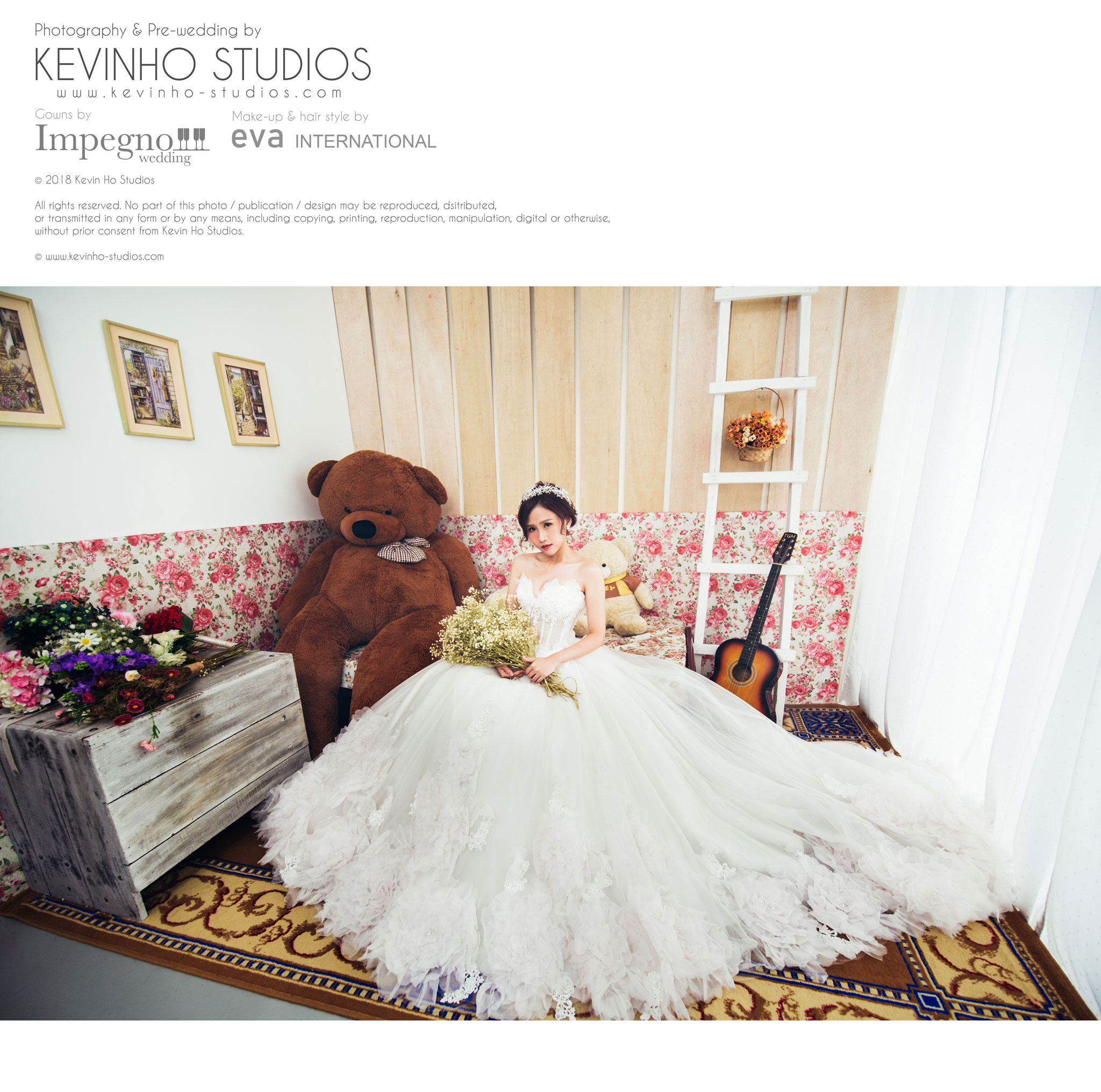 Rynnie, looking stunningly beautiful in this long trail pre-wedding white gown by Impegno Wedding.