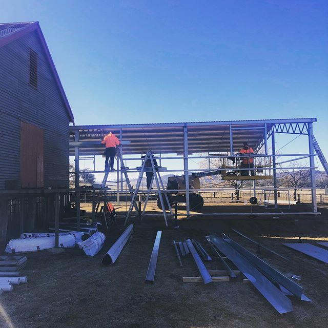 • New Ram Sale Venue • This modern extension to our historic wool shed is currently under construction and will be ready in time for the Twelve Mile Stud Tour (10th September) and Boxleigh Park Annual Ram Sale (30th September 2019). #prowaylivestockequipment #shearingshed #woolshed #custombuild #ramsale #merinowool