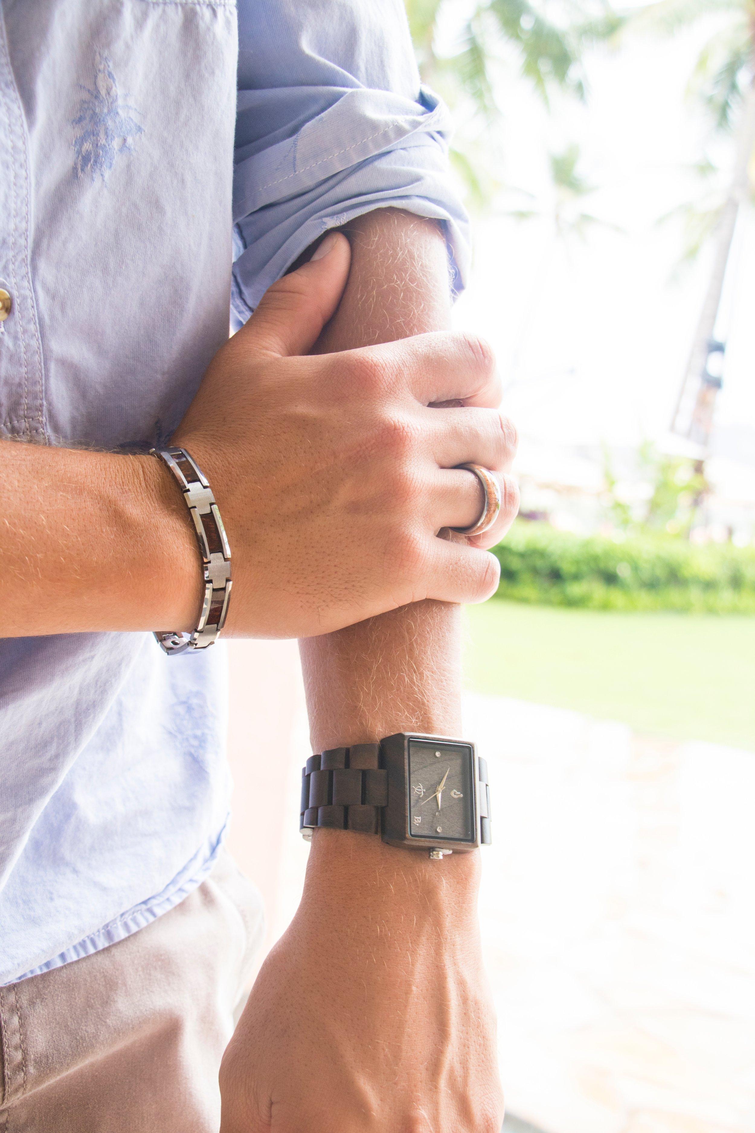 Koa Wood Tungsten Bracelet