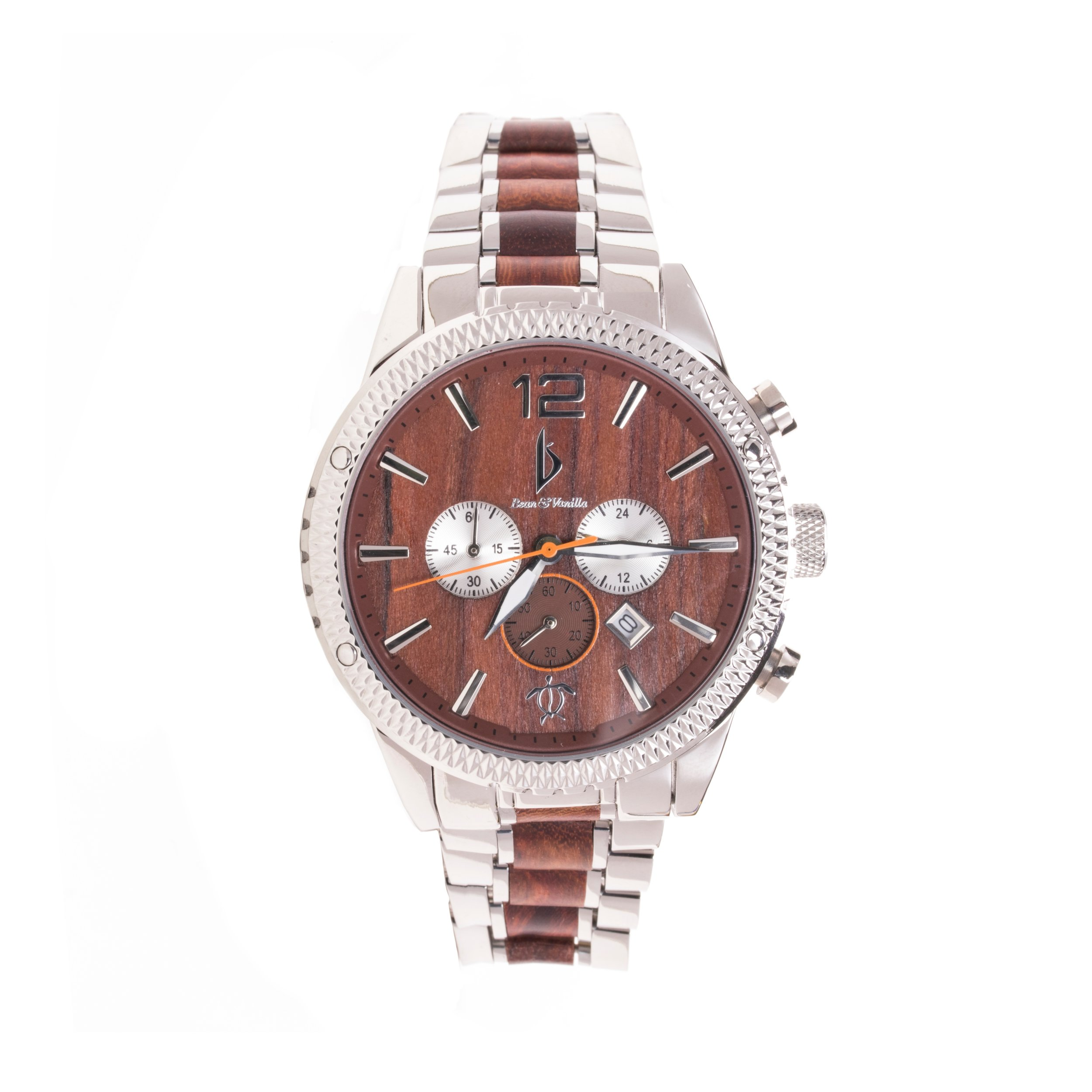 Chronograph stainless steel and sandalwood