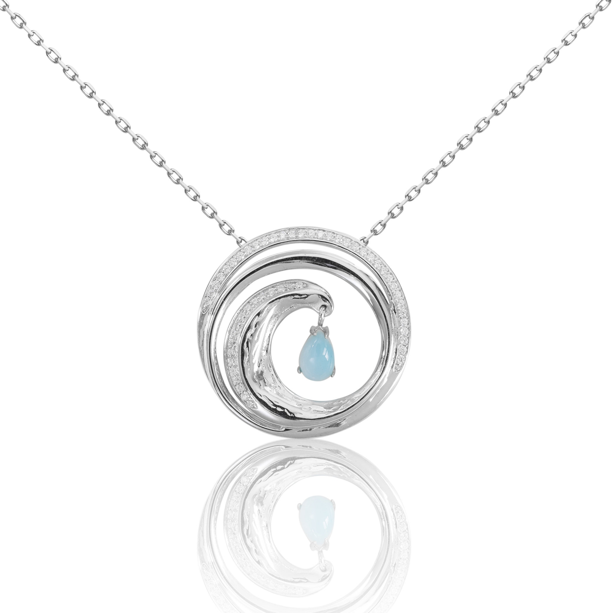 LIP1006 - circular wave tear drop pendant-chained.jpg