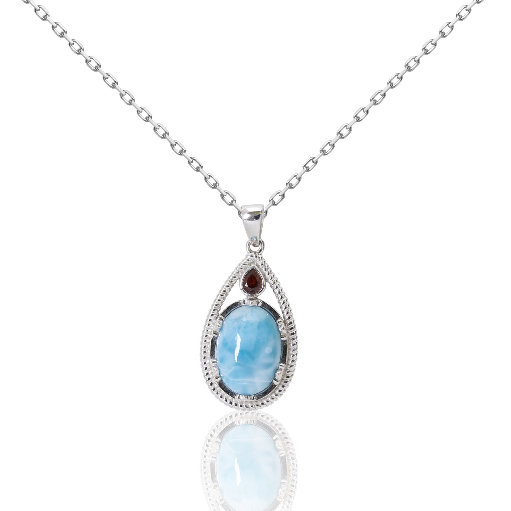 No code circle blue stone orange raindrop- pendant-chained.jpg