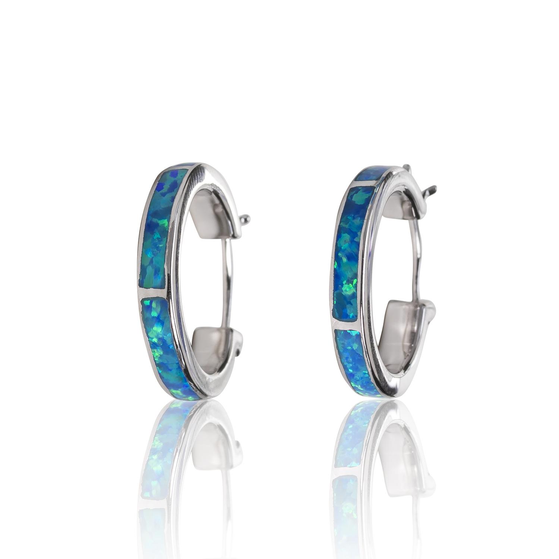 BLUE OPAL HOOP EARRINGS IN STERLING SILVER