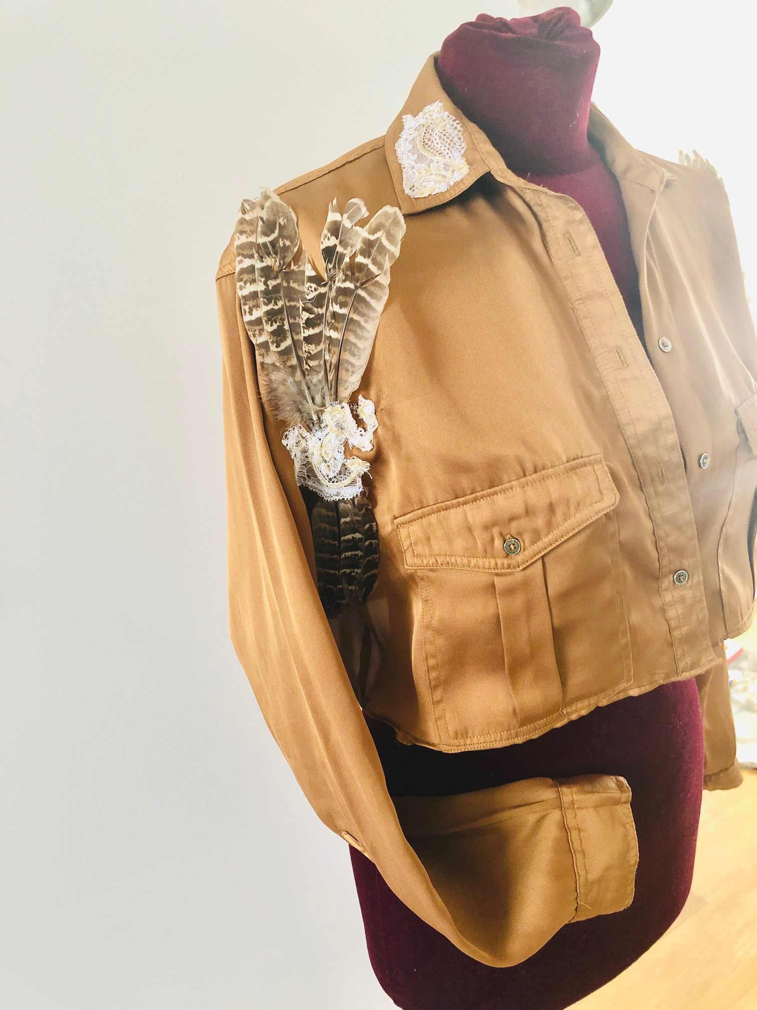 "upcycled blouse/jacket ""Golden Feather"""
