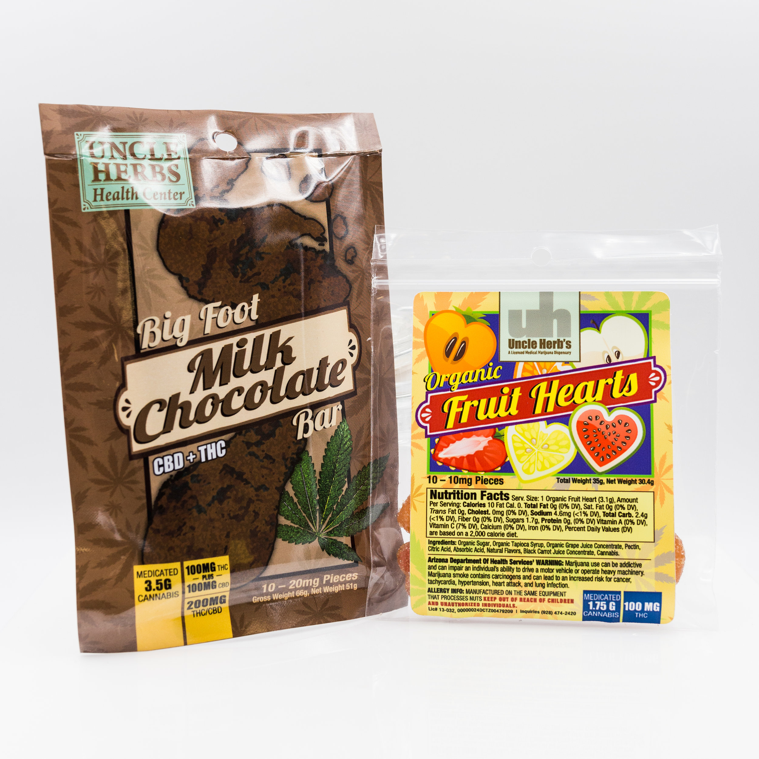 Pictured: Uncle Herbs Health Center 1:1 CBD/THC Chocolate Bar and Organic Fruit Hearts