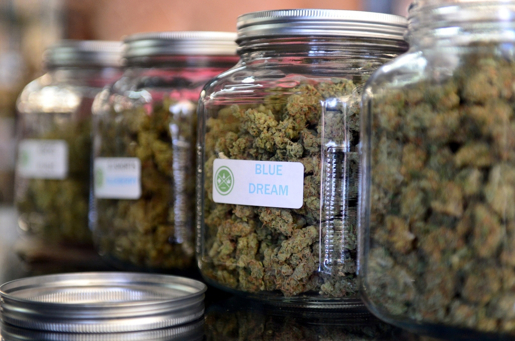 File photo: Medical marijuana at a cannabis farmers market in Los Angeles in 2014. Under California's new recreational marijuana laws, state universities are slated to get $2 million annually for medical cannabis research.  FREDERIC J. BROWN/AFP/GETTY IMAGES