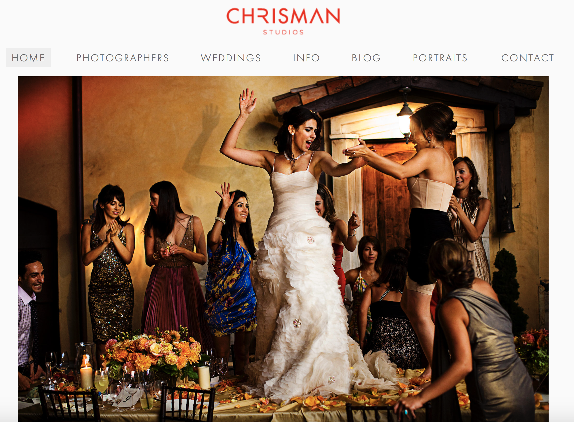 An image of the website of wedding photographers Chrisman studios.