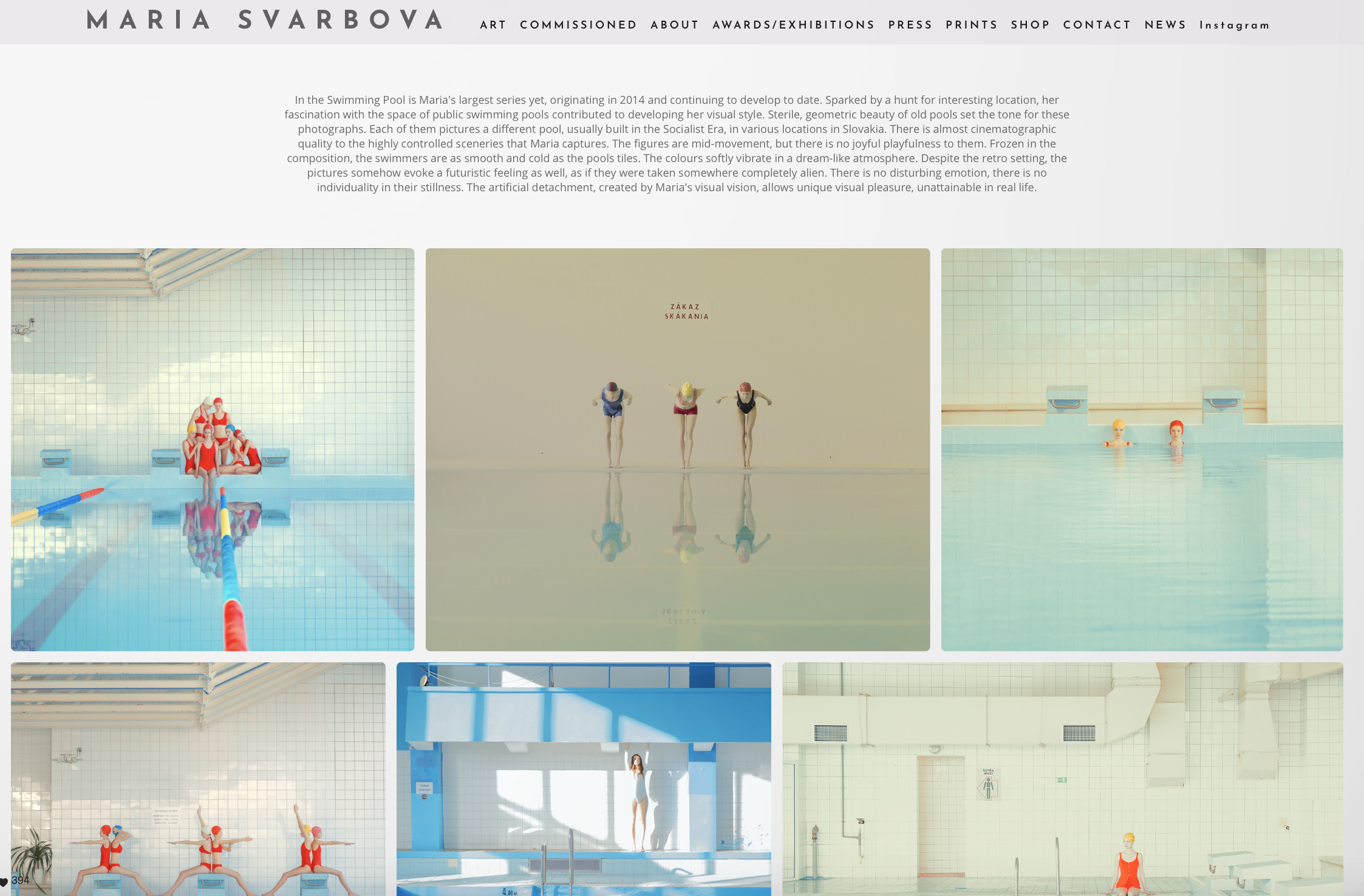 In image of the website of photographers Maria Svabova