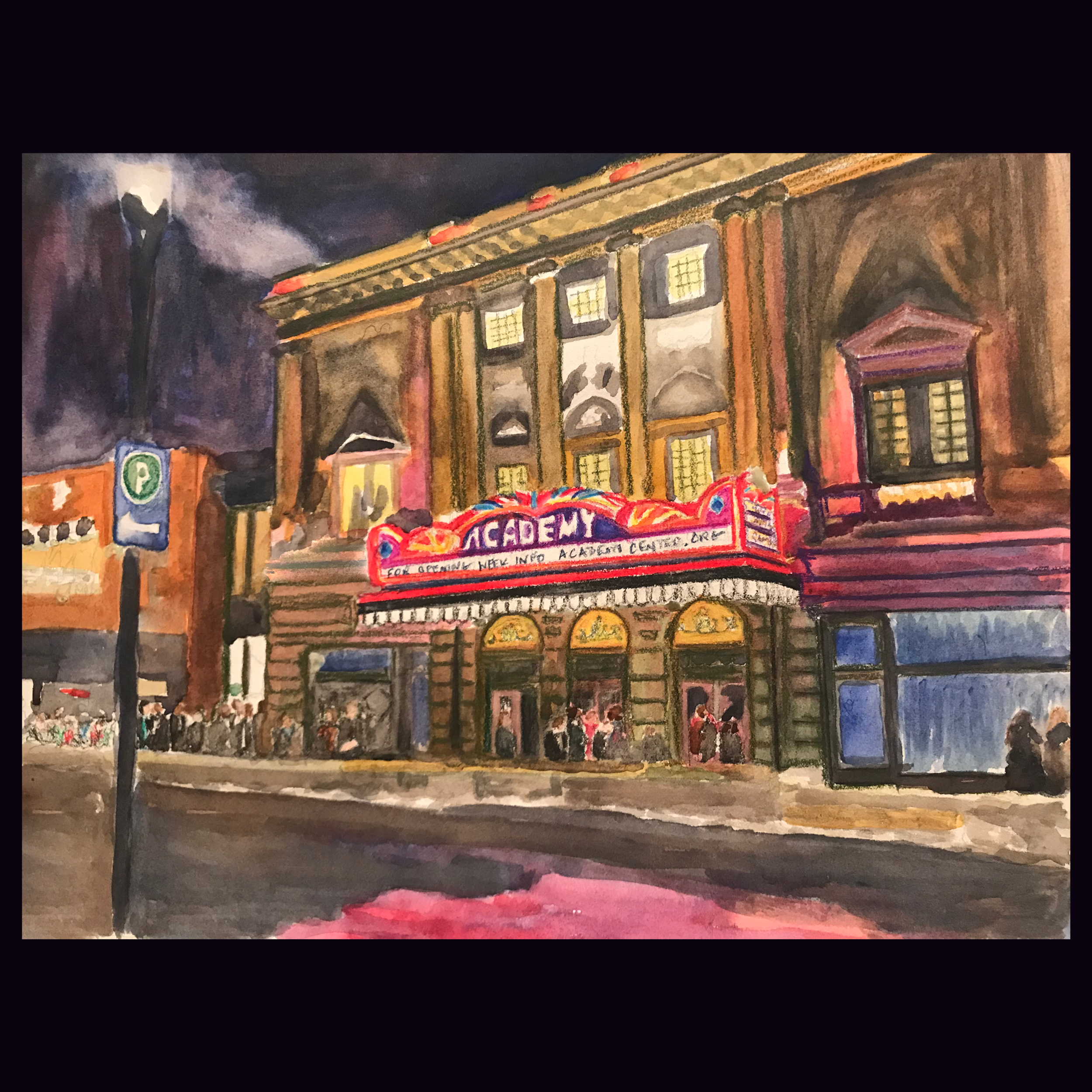 """Academy Painting - """"Jazz Night at the Academy"""" watercolor painting by Perry Payne Millner."""
