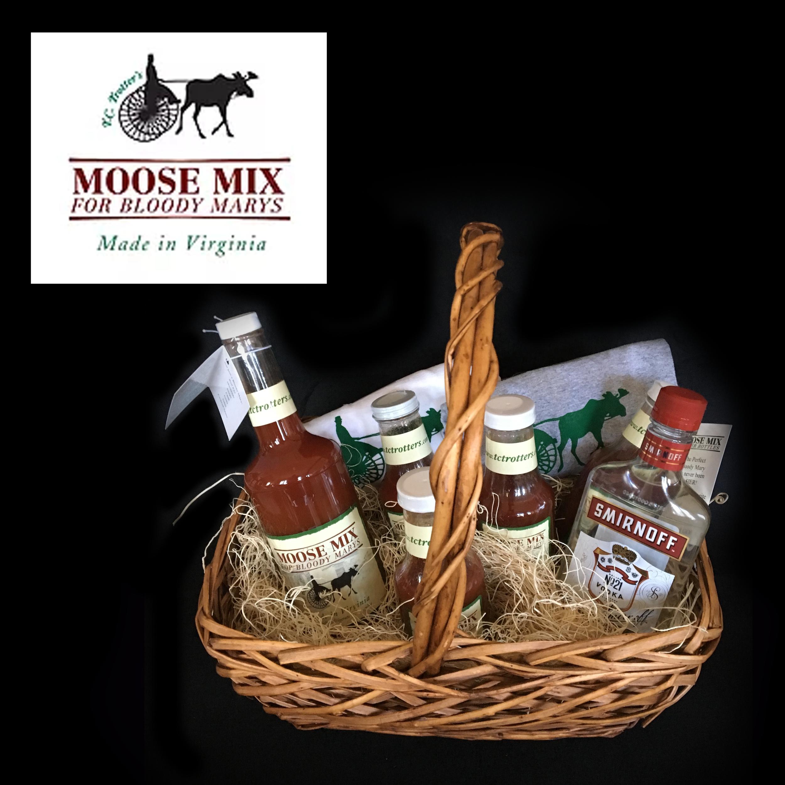 "Moose Mix Basket - Large Moose Mix, 4 individual serving bottles, 1 bottle of Smirnoff vodka""His and Hers"" TC Trotters t-shirts"